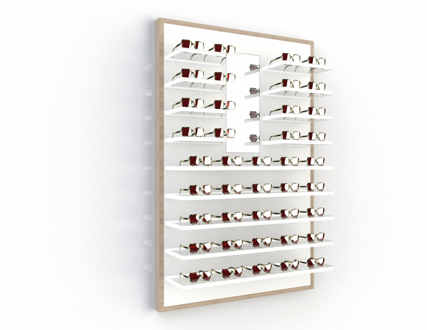 <strong>#58151ST</strong><br>13x 20mm acrylic shelves<br>Mirror<br>41 frames