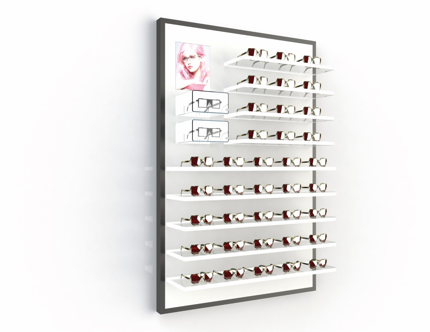 <strong>#58152B/L</strong><br>9x 20mm acrylic shelves<br>2 highlight boxes<br>illuminated banner<br>41 frames
