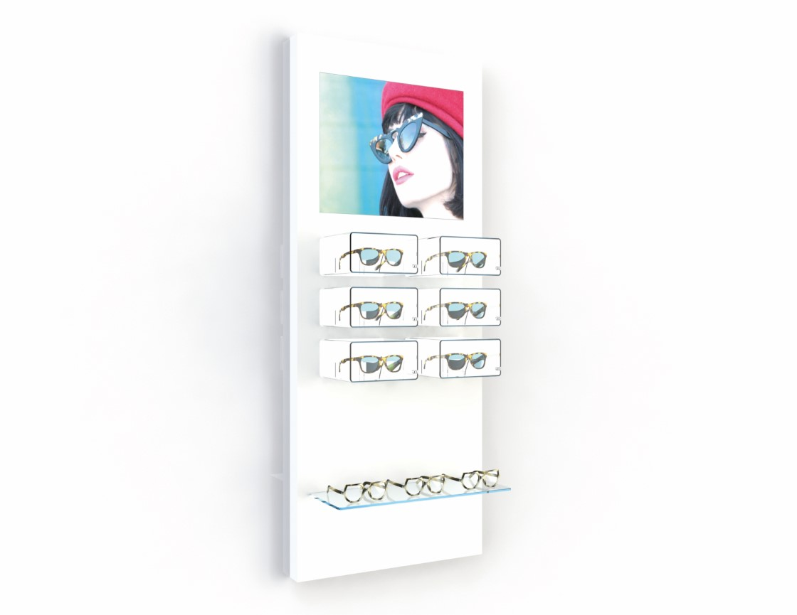 <strong>#58250W</strong><br>6x higlight boxes open<br>1x crystal clear shelve<br>Illuminated banner<br>12 frames