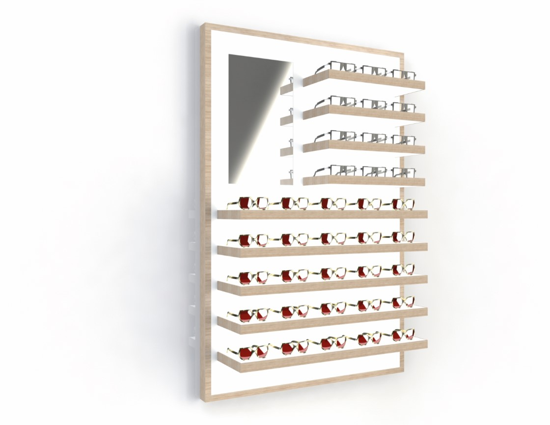 <strong>#58171ST/L-ST</strong><br>13x 35mm LED shelves<br>Mirror<br>41 frames