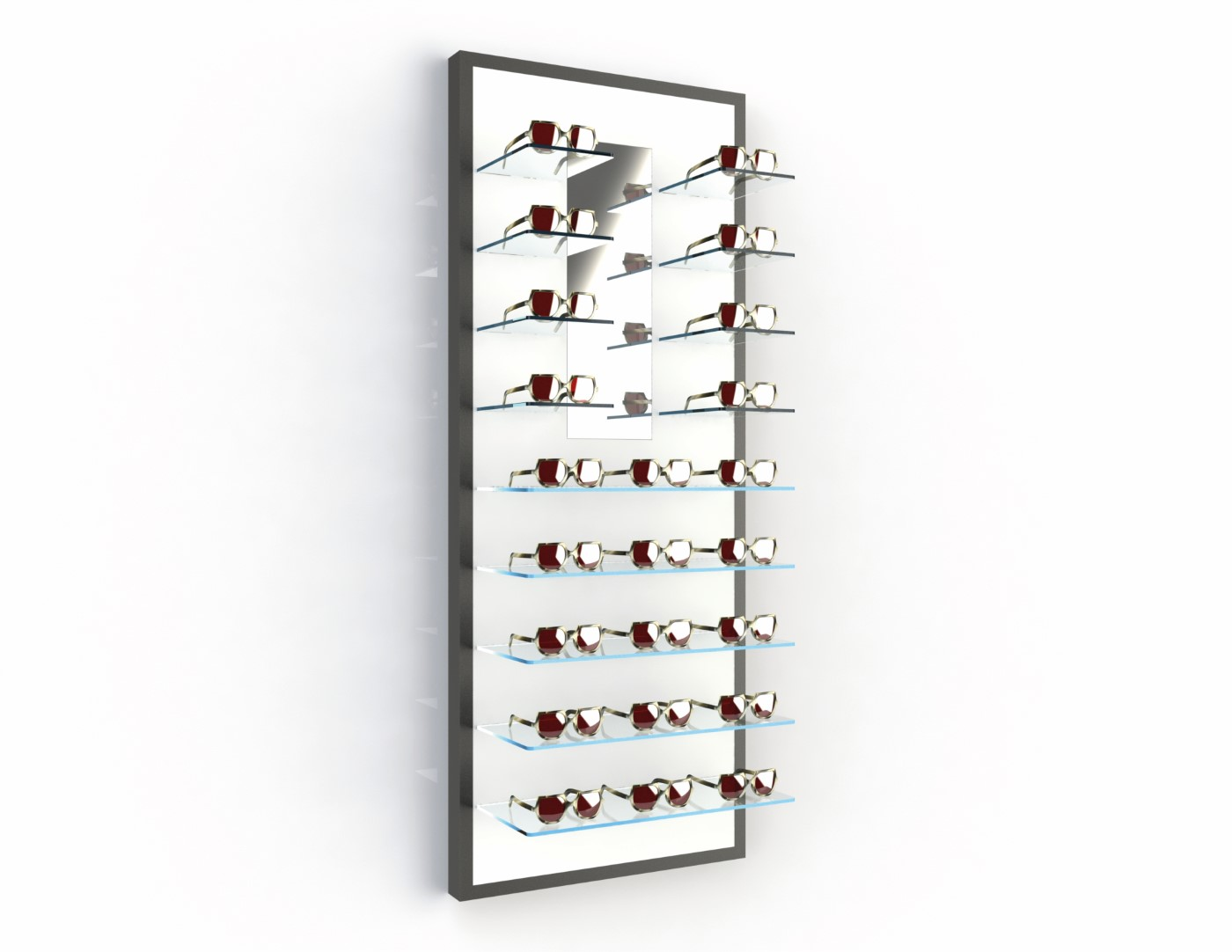 <strong>#58121B</strong><br>13x 6mm crystal clear shelves<br>Mirror<br>23 Frames