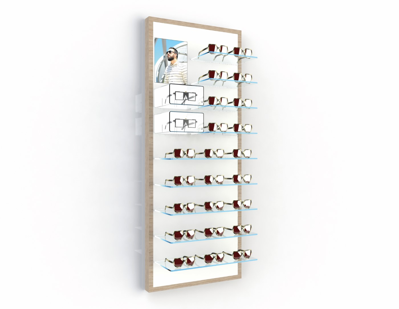 <strong>#58122ST/L</strong><br>9x 6mm crystal clear shelves<br>2 highlight boxes<br>Illuminated banner<br>25 frames