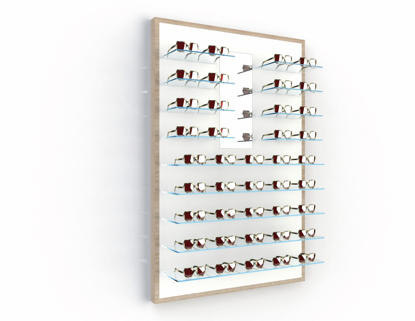 <strong>#58131ST</strong><br>13x 6mm crystal clear shelves<br>Mirror<br>41 frames