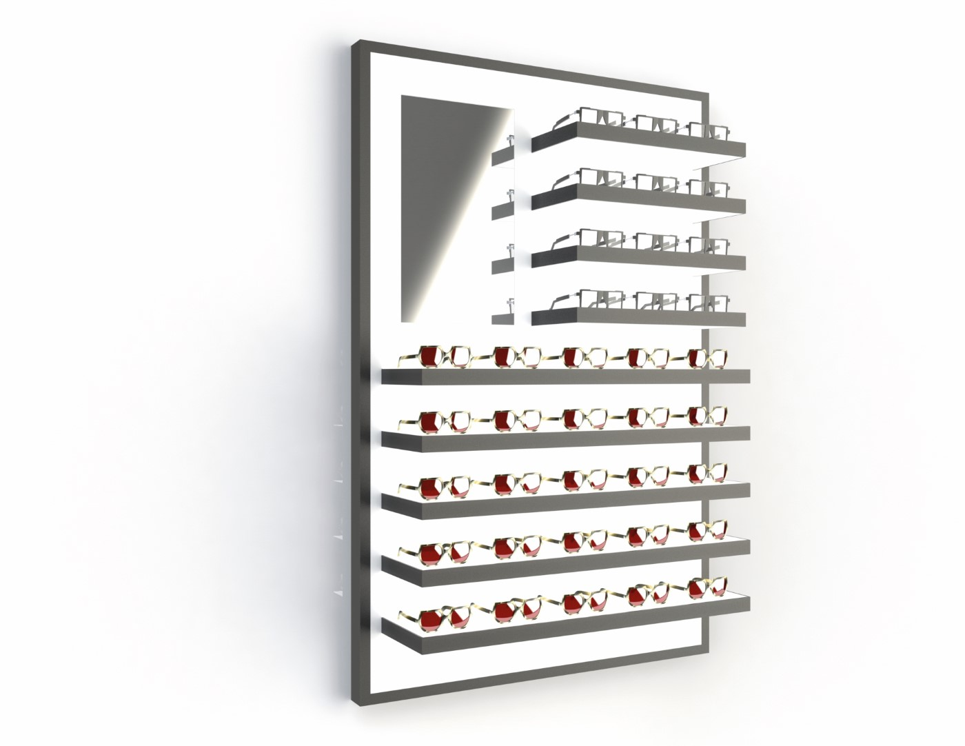 <strong>#58171B/L-B</strong><br>9x 35mm LED shelves<br>Mirror<br>37 frames